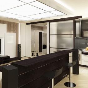 Встроенное освещение в кухне-гостиной