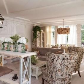 Интерьер кухни гостиной в стиле прованса