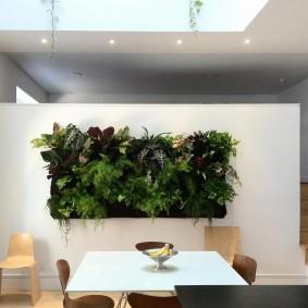 Панно из живых растений в обеденной зоне гостиной