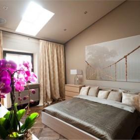 Цветущая орхидея в спальне девушки