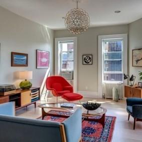 Ретро мебель в гостиной комнате