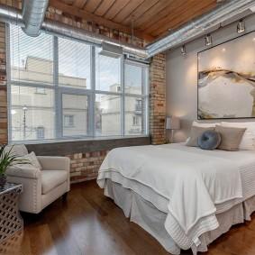 Интерьер спальни в стиле лофта