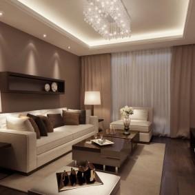 Современная гостиная с коричневыми обоями