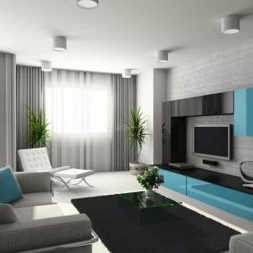 Черный коврик на полу комнаты в стиле хай тек