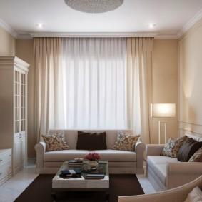 Дизайн гостиной с двумя небольшими диванами