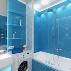 Голубая плитка в ванной небольшого размера