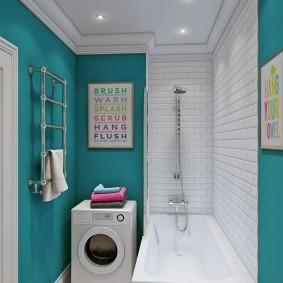 Узкая ванная комната в современном стиле