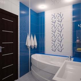 Синяя плитка в отделке ванной