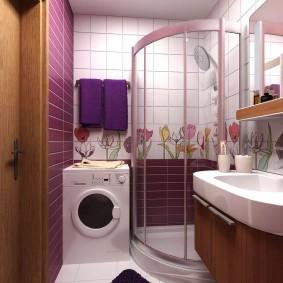Место для стиралки в интерьере ванной комнаты