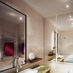 Зеркала в интерьере небольшой ванной