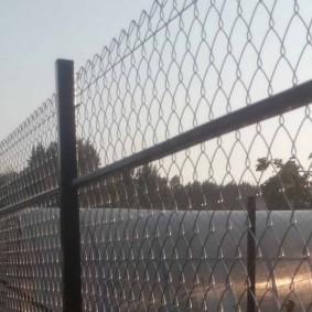 Теплица из поликарбоната за забором из сетки
