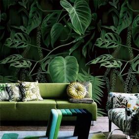 Фотообои на тропическую тематику в гостиной комнате