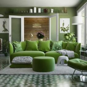 Зеленая мебель в современном зале