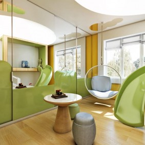 зеленый цвет в интерьере детской игровой комнаты