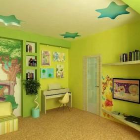 Дизайн детской комнаты с подвесным потолком