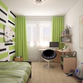 Комната школьника с зелеными шторами