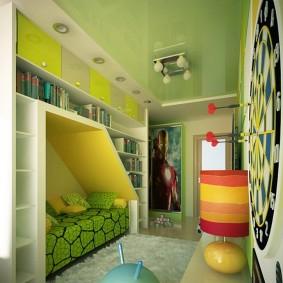 Натяжной потолок салатового цвета