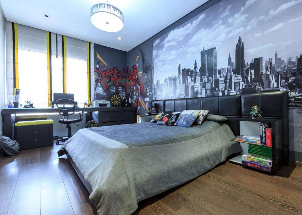 Фотообои с мегаполисом на стене спальни для подростка