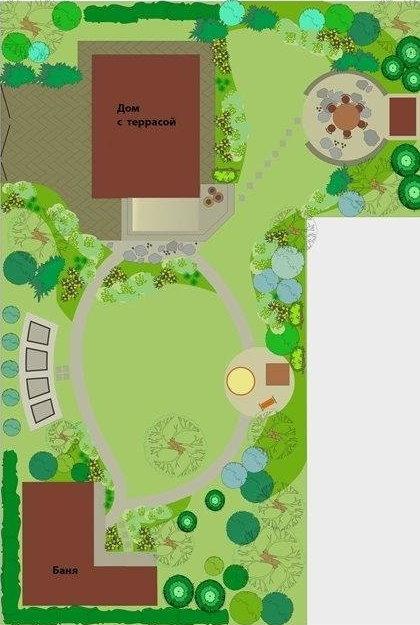 Схема Г-образного дачного участка с домом и баней