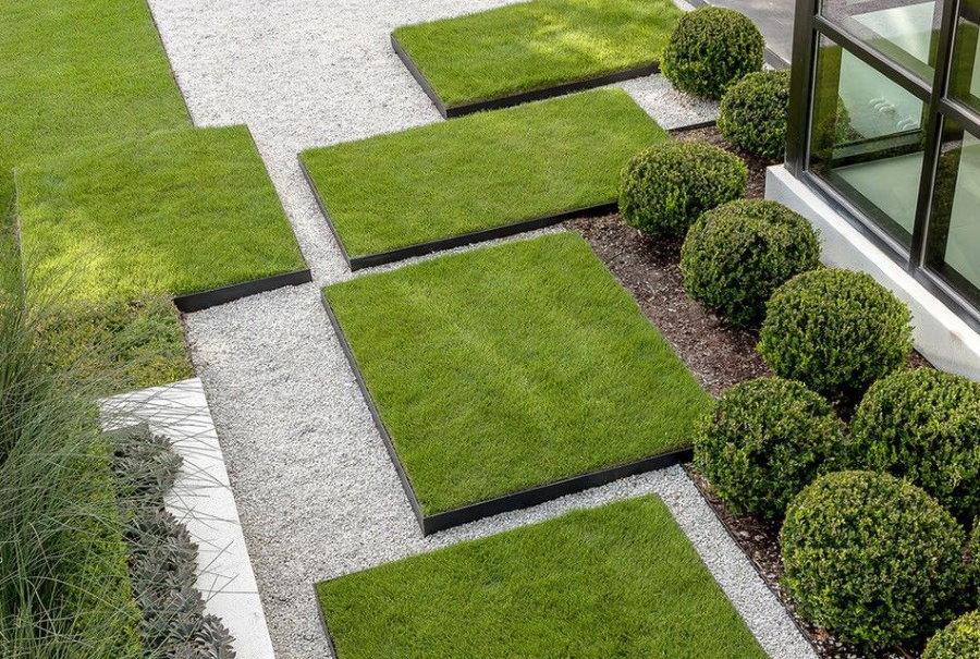 Оформление газона в современном стиле