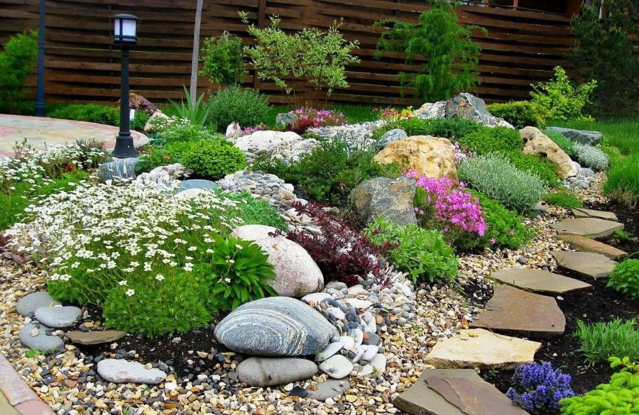 Альпийская горка с цветущими растениями