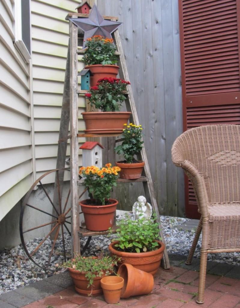 Горшки с цветами на ступенях деревянной стремянки