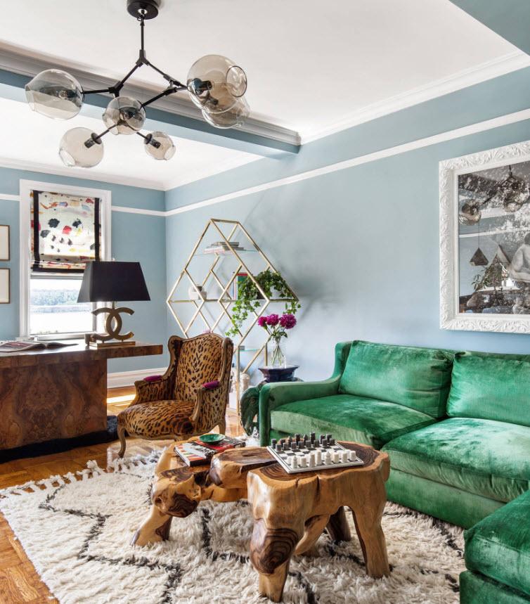 Мягкая мебель в гостиной стиля фьюжн