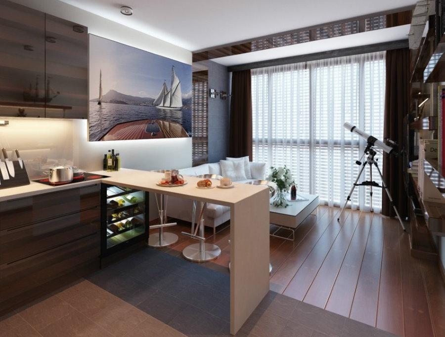 Кухня-гостиная в квартире с двумя комнатами