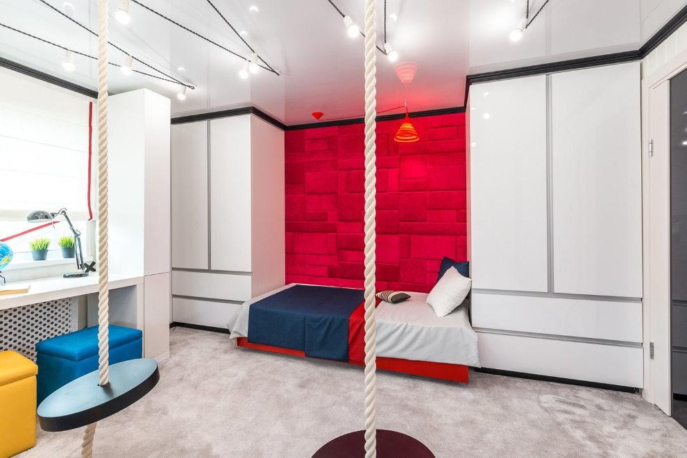 Белая мебель в стиле хай-тек для подростка