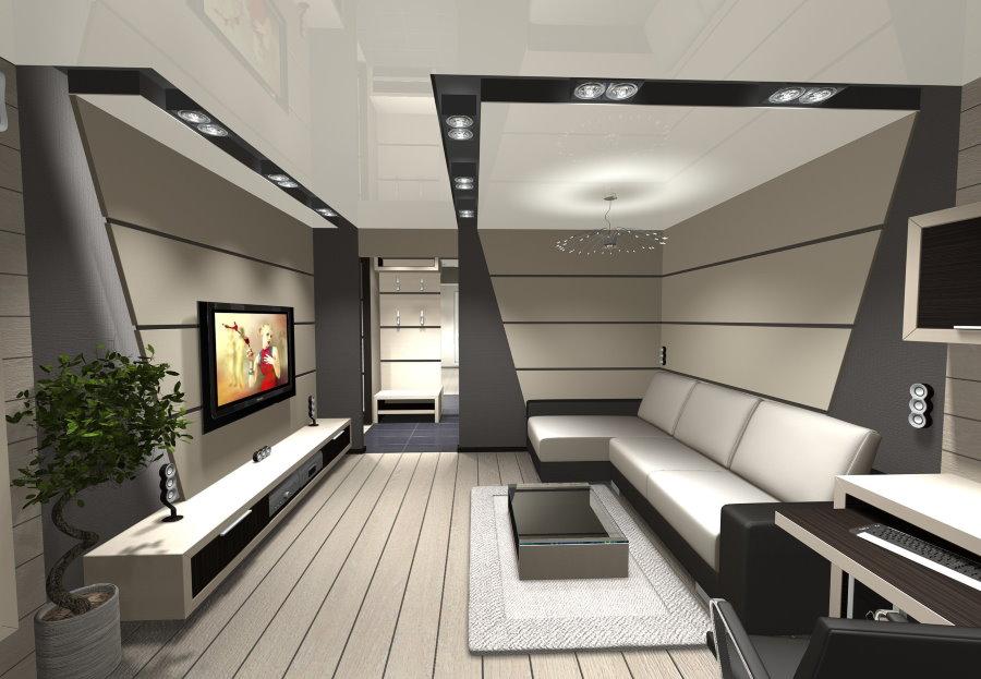 Дизайн небольшой комнаты в стиле хай-тек