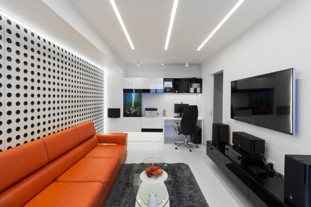 Линейные светильники на потолке квартиры в стиле хай тек
