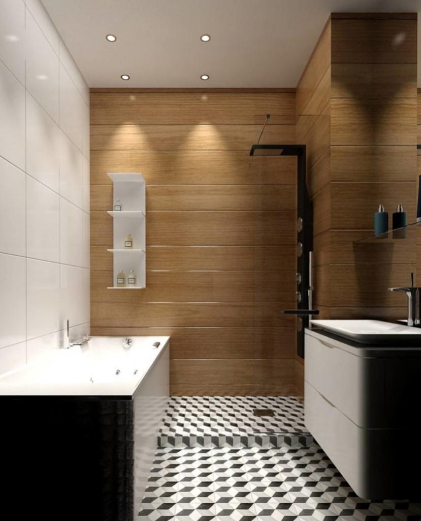 Небольшая ванная комната в стиле хай-тек