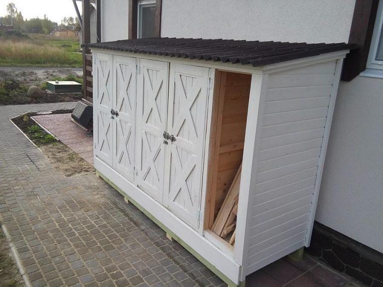 Хозблок для садового инструмента около стены дома