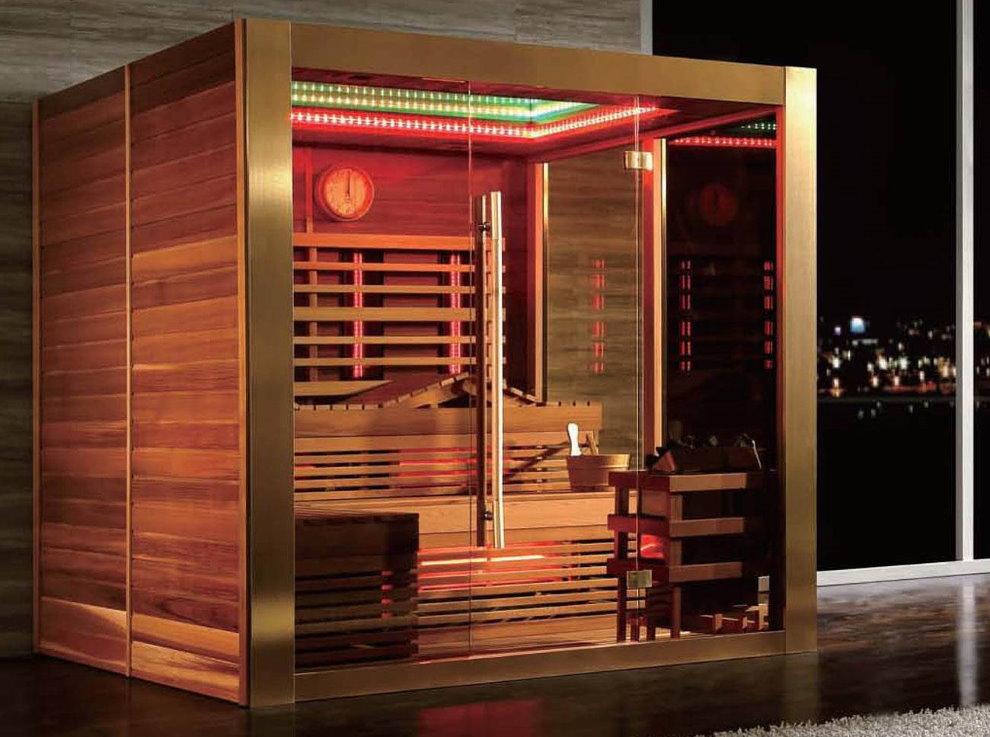 Сауна инфракрасного типа в гостиной с панорамным окном