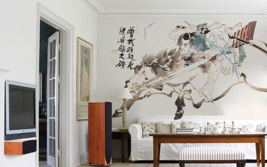 Интерьерная роспись в качестве акцента в гостиной