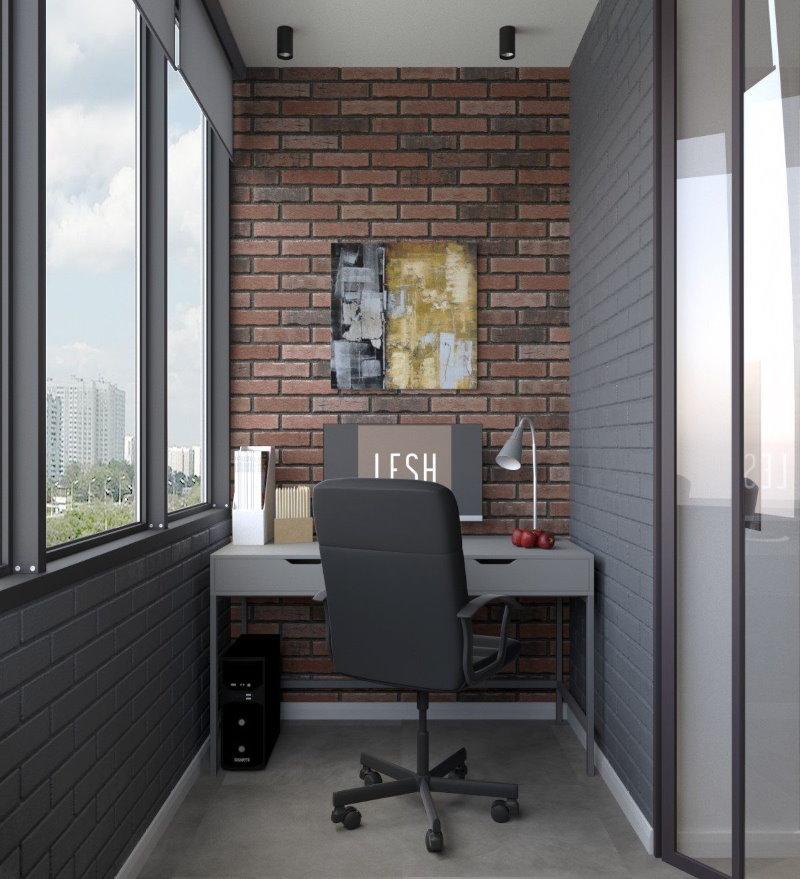 Дизайн балкона с рабочим кабинетом