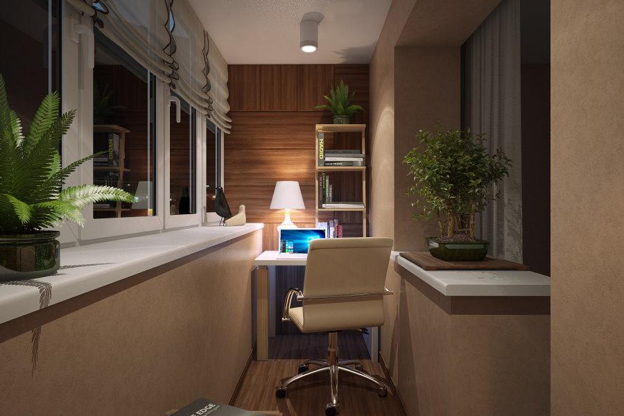 Уютный кабинет на благоустроенной лоджии