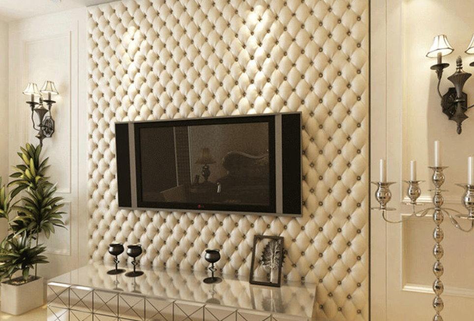 Телевизионная панель на стене с каретной стяжкой