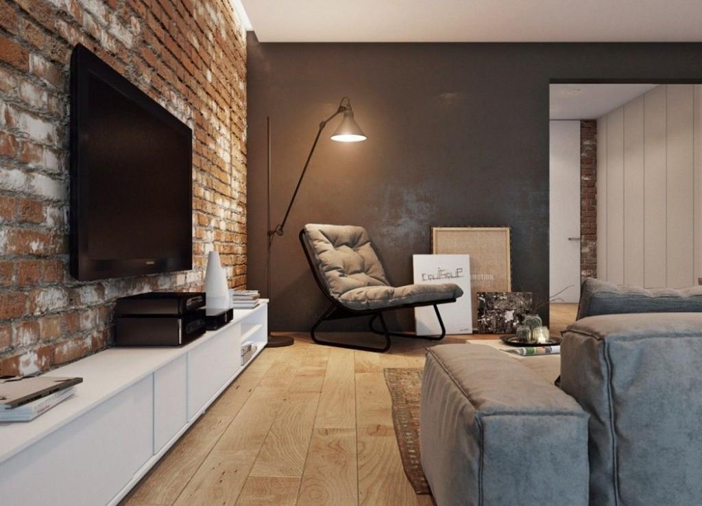 Интерьер гостиной с кирпичной акцентной стеной