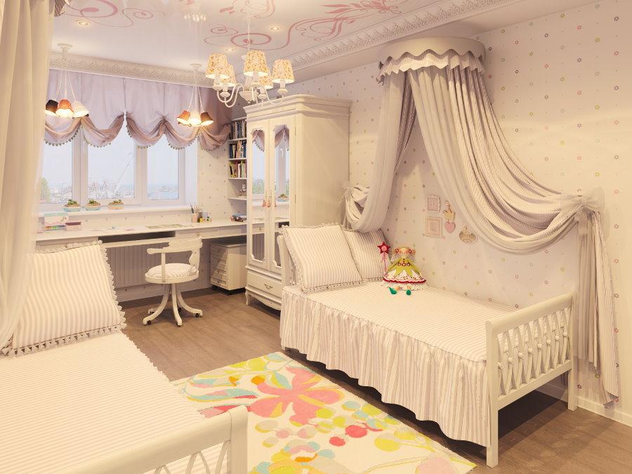Балдахин с шатром над кроватью девочки