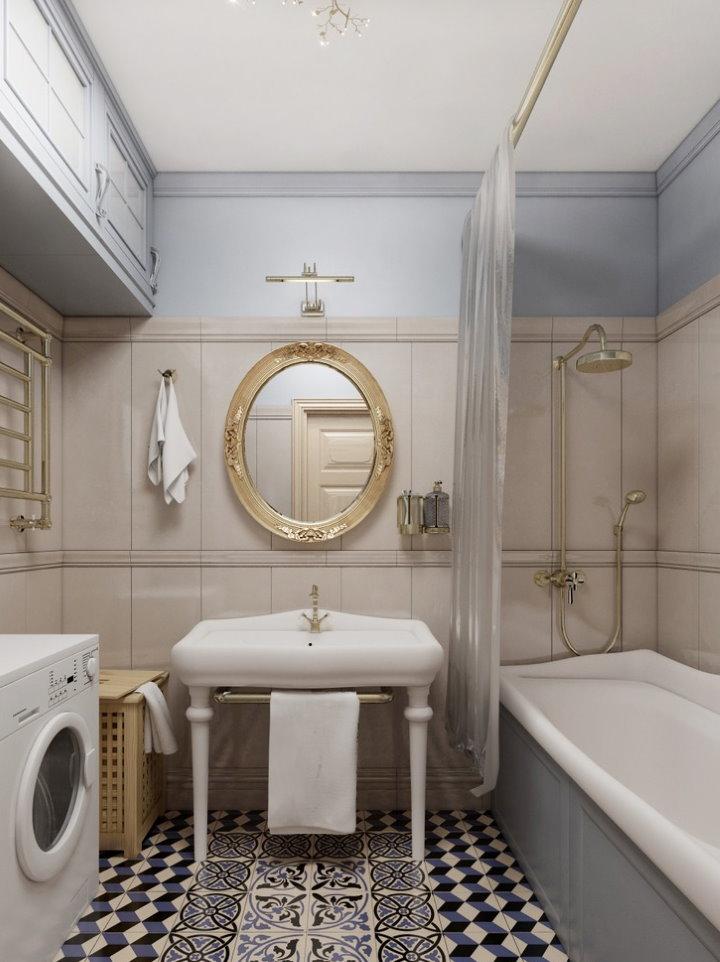 Овальное зеркало в ванной комнате площадью 3 квадрата