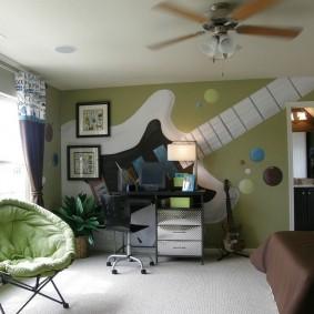 Фотообои с гитарой в комнате мальчика