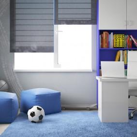 Прямоугольные пуфы голубого цвета