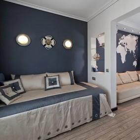 Синие стены в интерьере детской комнаты