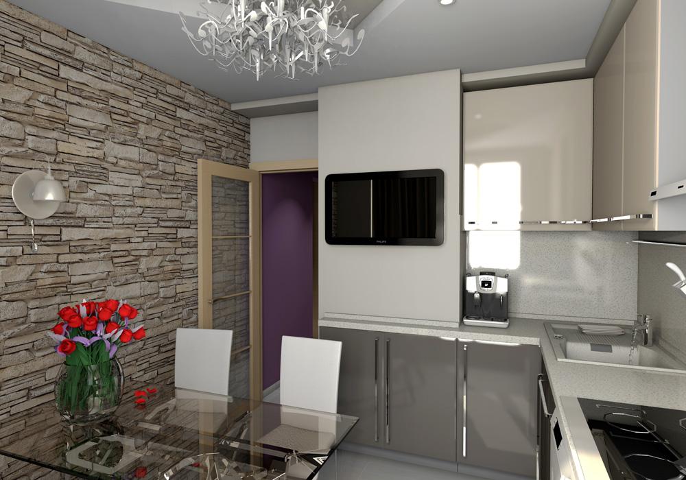 Черный телевизор на стене кухни в панельном доме 44т