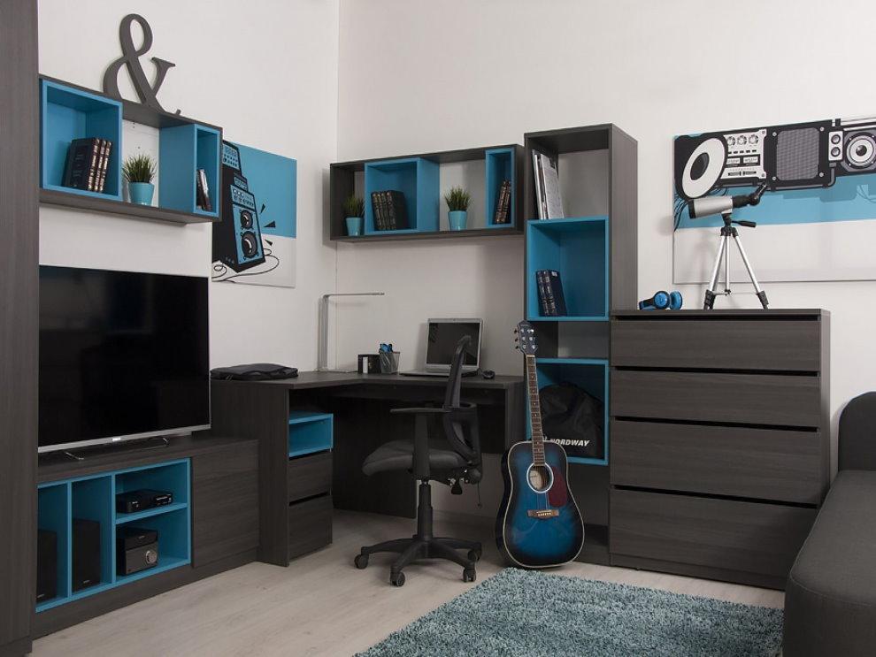 Корпусная мебель в комнате подростка