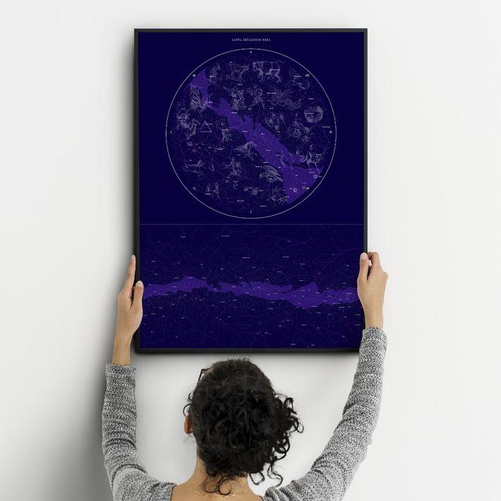 Стильный постер на тему космоса в комнате подростка