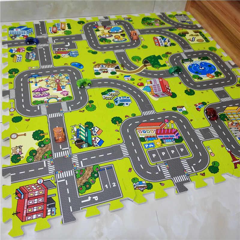 Детский коврик из пазлов с дорогами