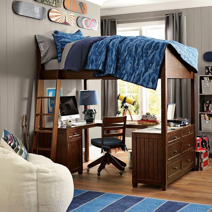 Рабочее место под кроватью мальчика-подростка
