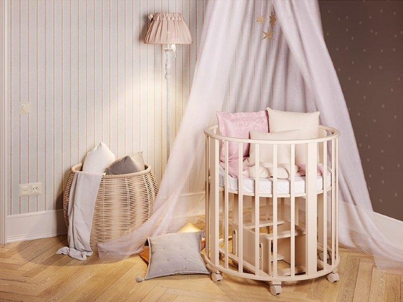 Овальная кроватка-трансформер для новорожденного